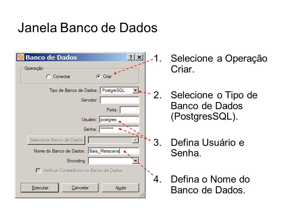 Janela Banco de Dados 1.Selecione a Operação Criar. 2.Selecione o Tipo de Banco de Dados (PostgresSQL). 3.Defina Usuário e Senha. 4.Defina o Nome do B
