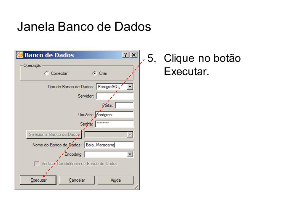 Janela Banco de Dados 5.Clique no botão Executar.