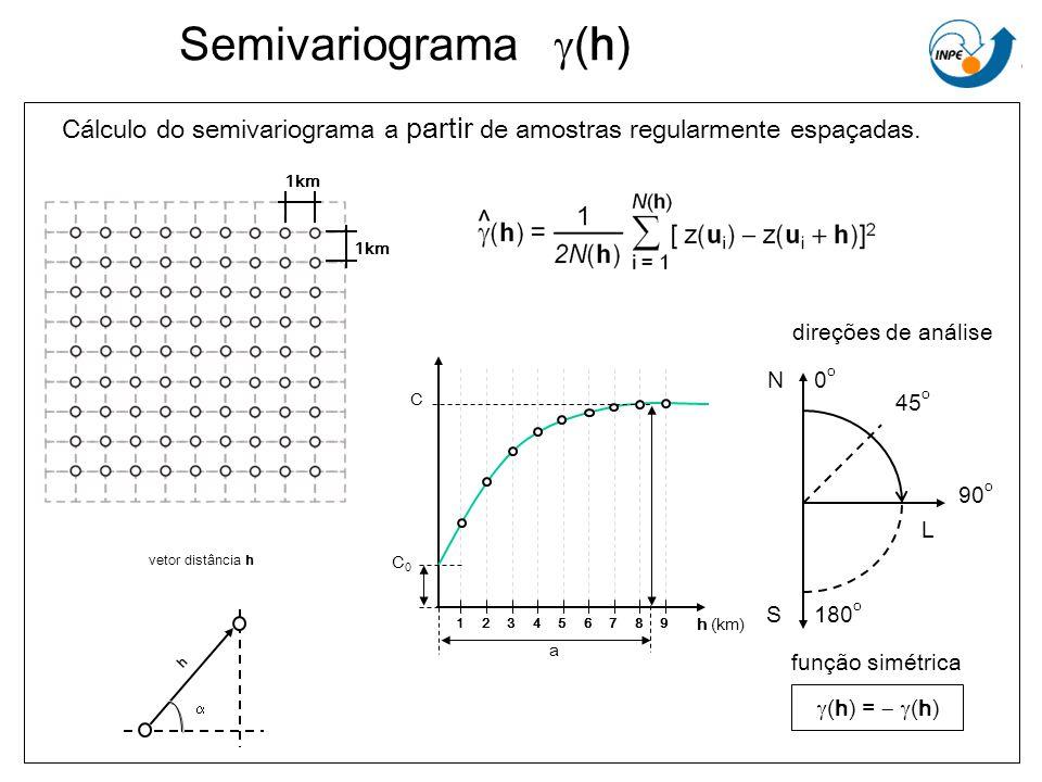 Semivariograma (h) Cálculo do semivariograma a partir de amostras regularmente espaçadas. h vetor distância h 0o0o 90 o 180 o 45 o N S L direções de a
