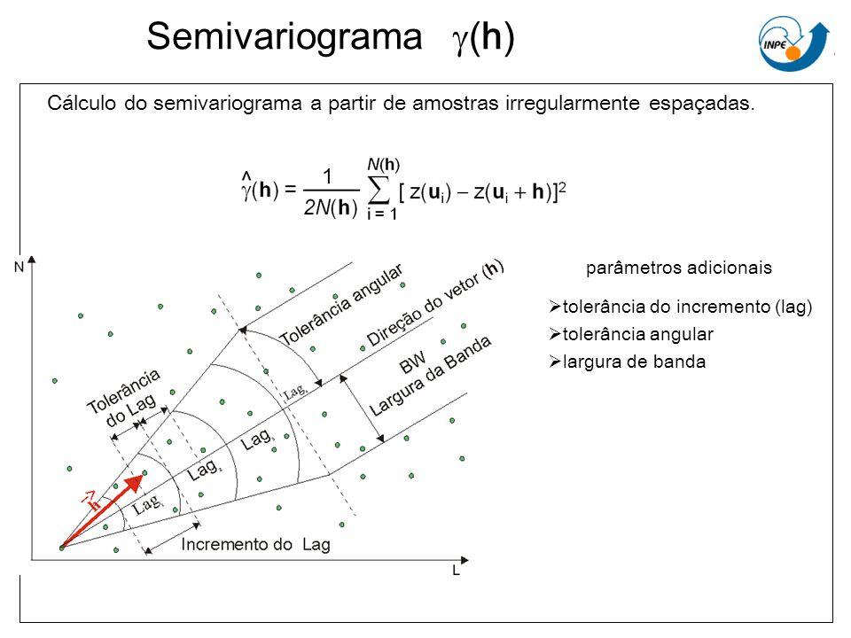 Semivariograma (h) Cálculo do semivariograma a partir de amostras irregularmente espaçadas. parâmetros adicionais tolerância do incremento (lag) toler