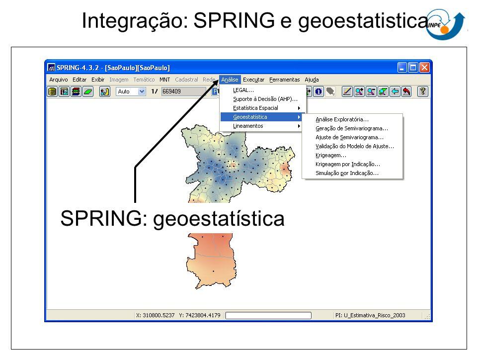 Integração: SPRING e geoestatistica SPRING: geoestatística