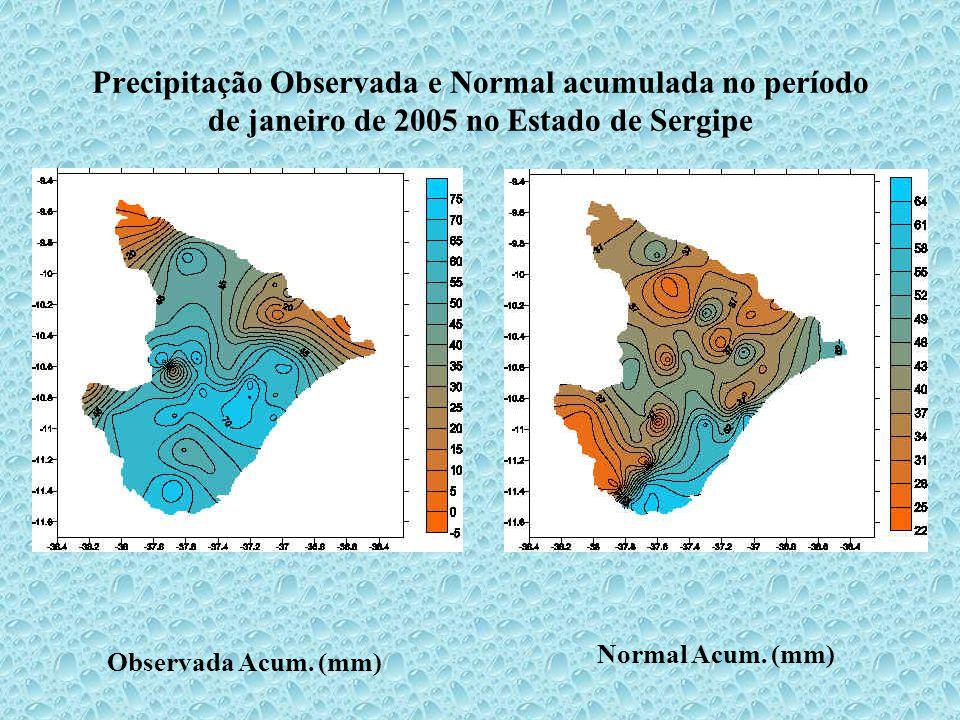 Precipitação Observada e Normal acumulada no período de janeiro de 2005 no Estado de Sergipe Observada Acum.