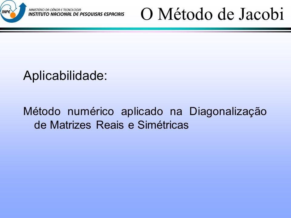 O Método de Jacobi Aplicabilidade: Método numérico aplicado na Diagonalização de Matrizes Reais e Simétricas