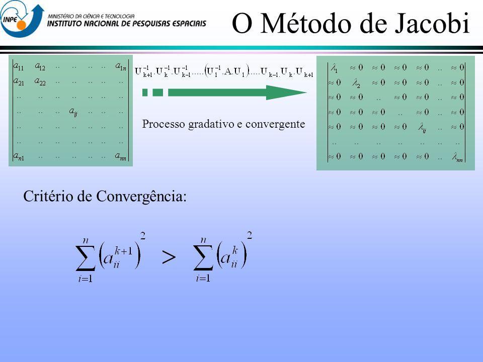 O Método de Jacobi Processo gradativo e convergente Critério de Convergência: