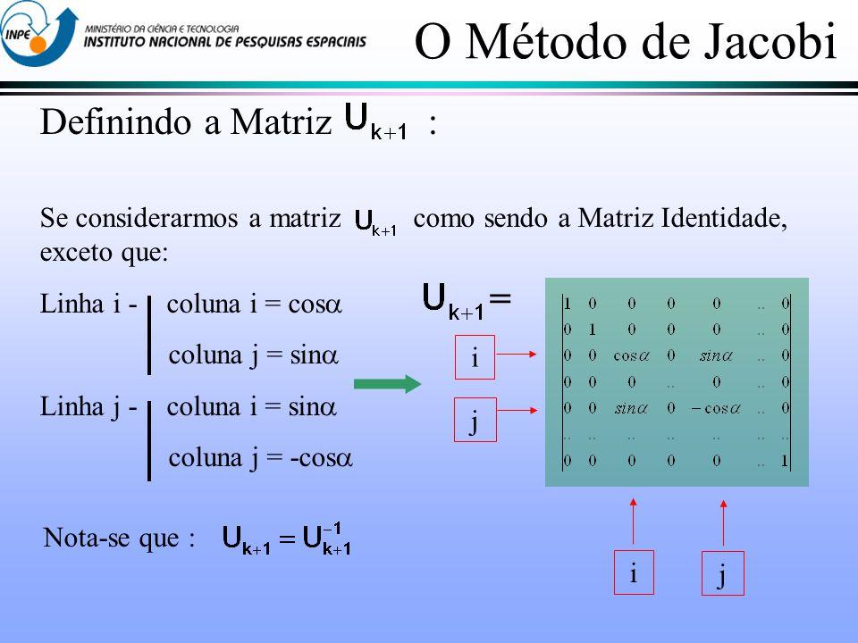 O Método de Jacobi Definindo a Matriz : Se considerarmos a matriz como sendo a Matriz Identidade, exceto que: Linha i - coluna i = cos coluna j = sin Linha j - coluna i = sin coluna j = -cos Nota-se que : i j i j =