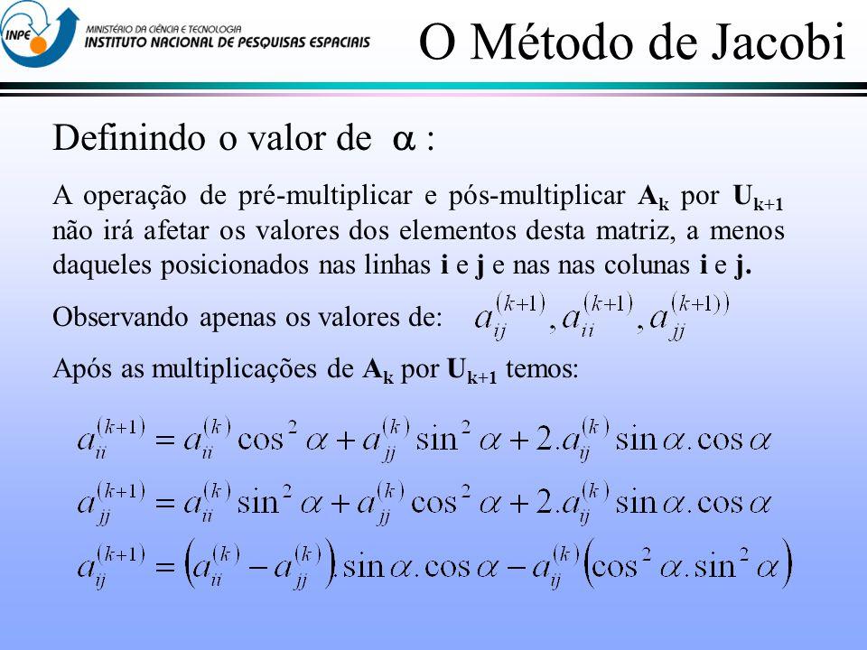 Definindo o valor de : A operação de pré-multiplicar e pós-multiplicar A k por U k+1 não irá afetar os valores dos elementos desta matriz, a menos daqueles posicionados nas linhas i e j e nas nas colunas i e j.