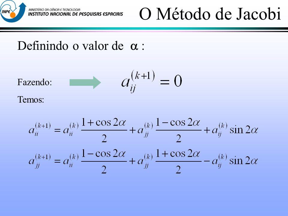 Definindo o valor de : Fazendo: Temos: O Método de Jacobi