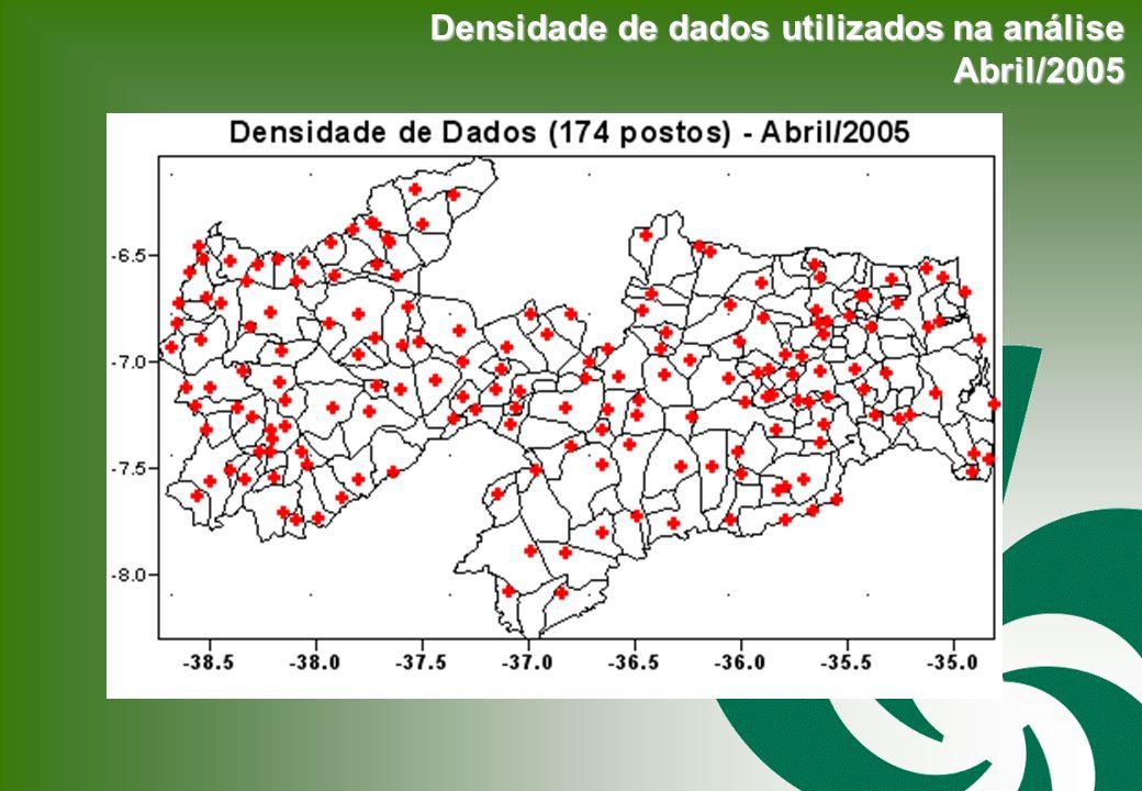 Densidade de dados utilizados na análise Abril/2005