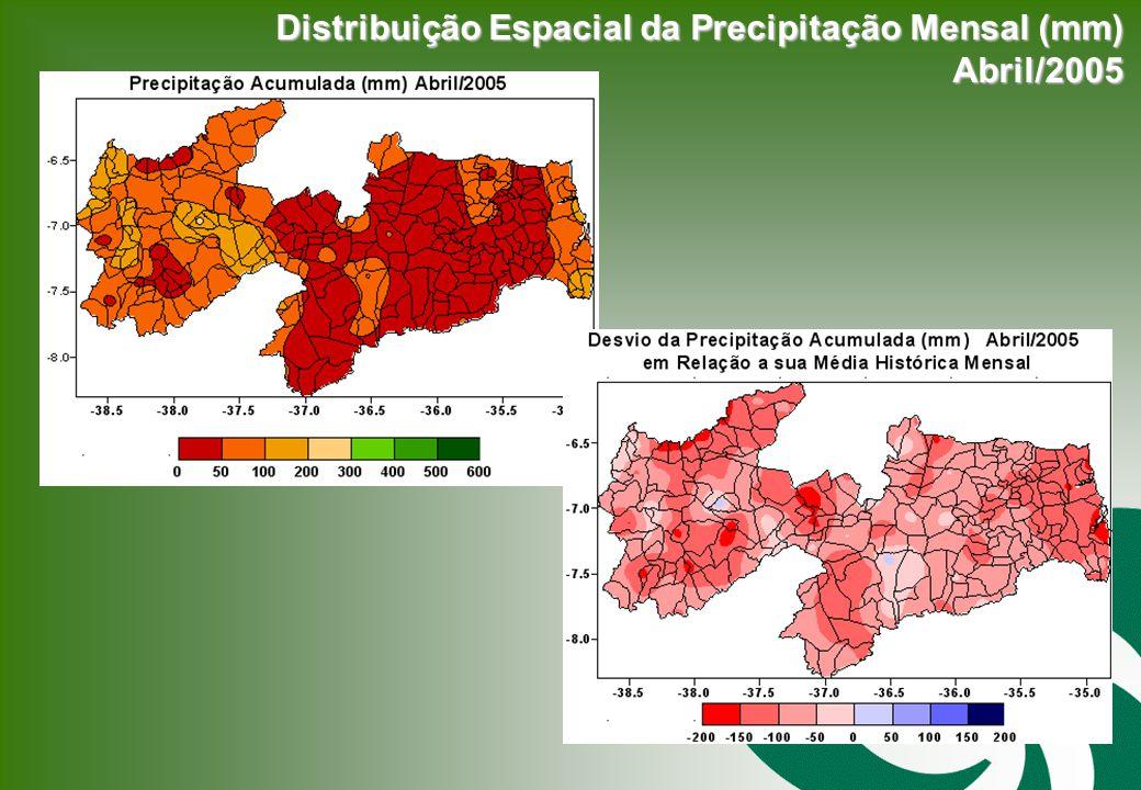 Distribuição Espacial da Precipitação Mensal (mm) Abril/2005 Abril/2005