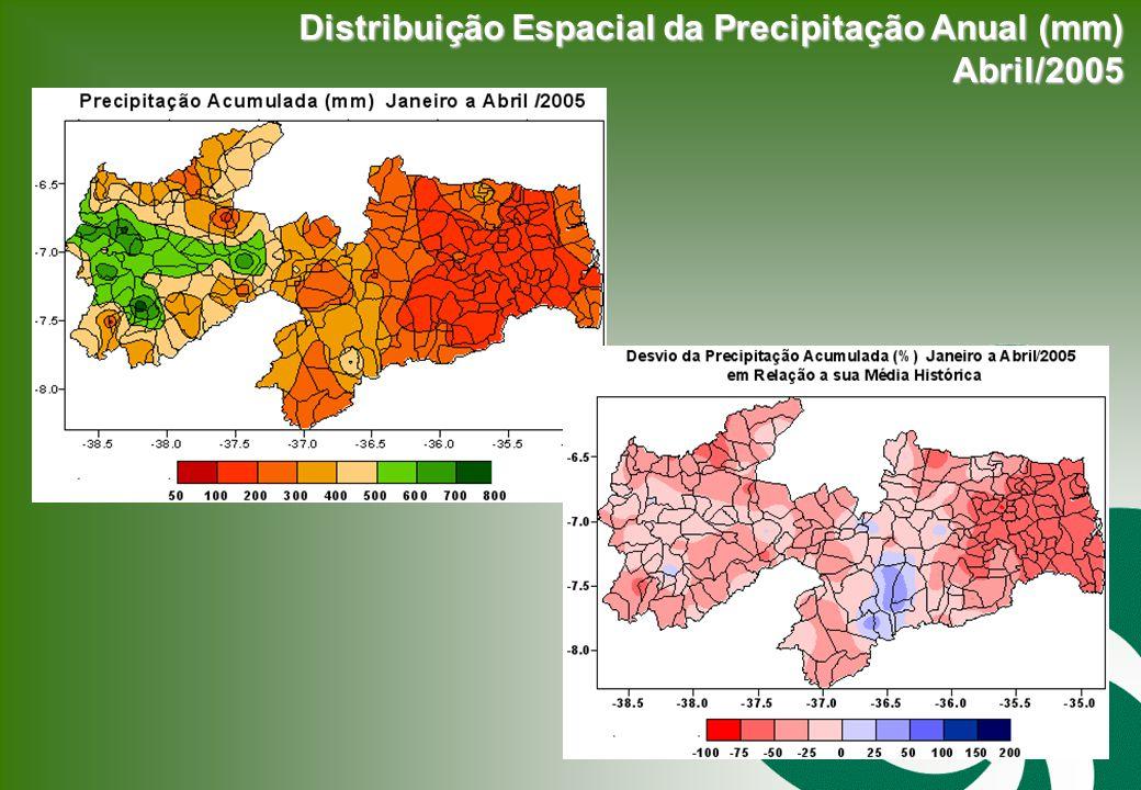 Distribuição Espacial da Precipitação Anual (mm) Abril/2005