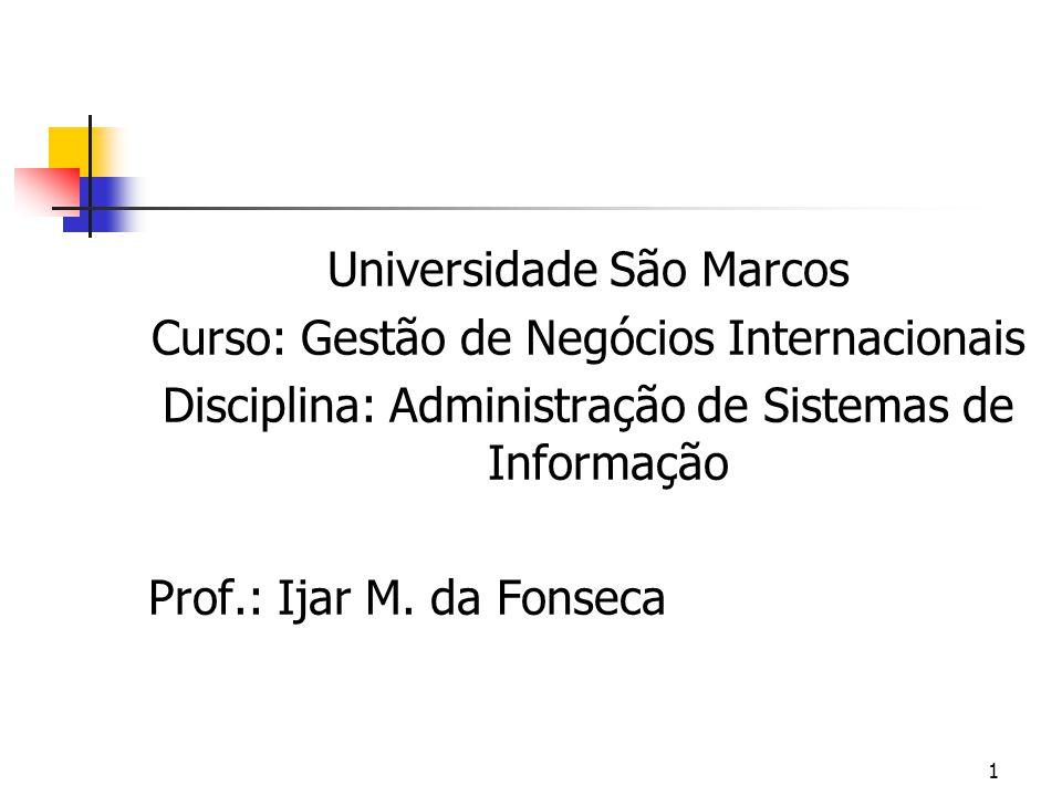 1 Universidade São Marcos Curso: Gestão de Negócios Internacionais Disciplina: Administração de Sistemas de Informação Prof.: Ijar M.