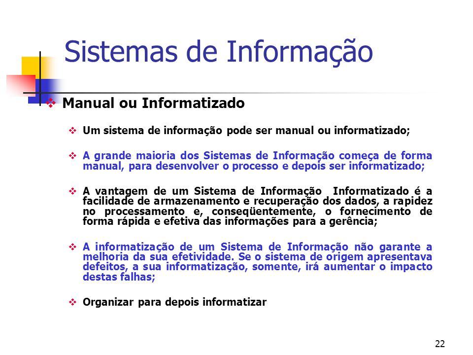 21 Papéis fundamentais dos sistemas de informação em organizações Suporte de seus processos e operações: registro de vendas, administração de estoque,
