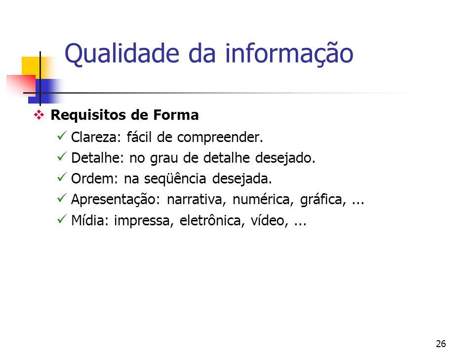 25 Qualidade da informação Requisitos de tempo Prontidão: fornecida quando necessária. Atualização: atualizada quando fornecida. Freqüência: no número