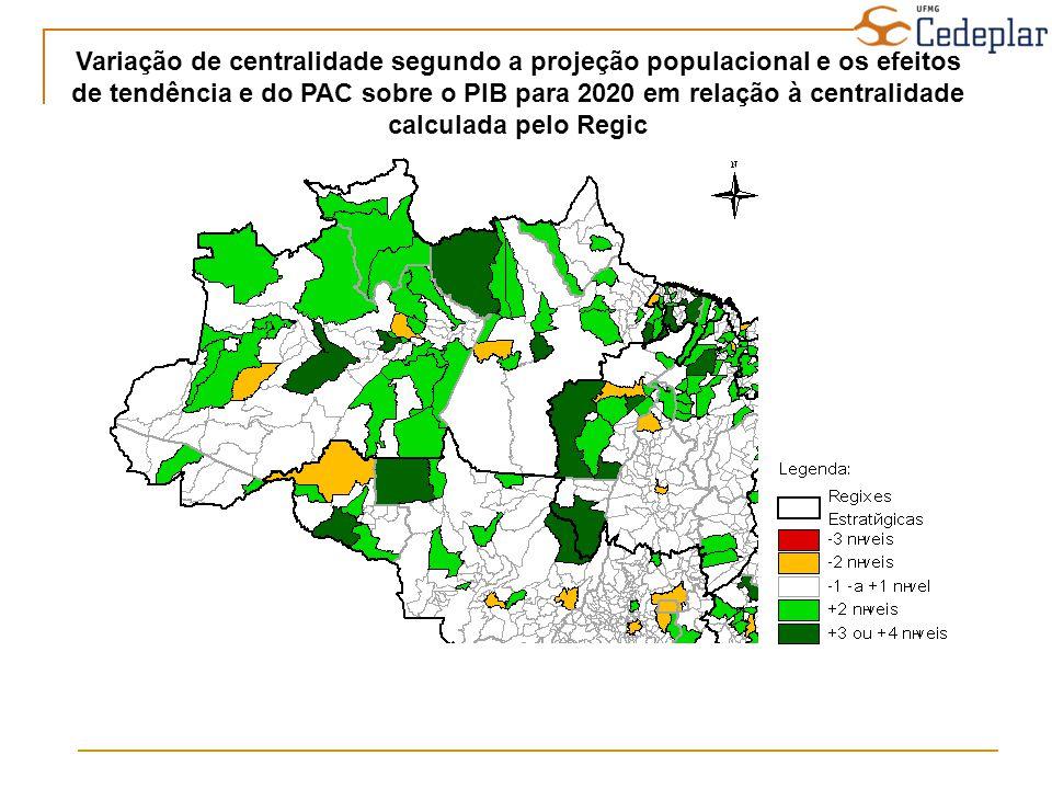 Variação de centralidade segundo a projeção populacional e os efeitos de tendência e do PAC sobre o PIB para 2020 em relação à centralidade calculada