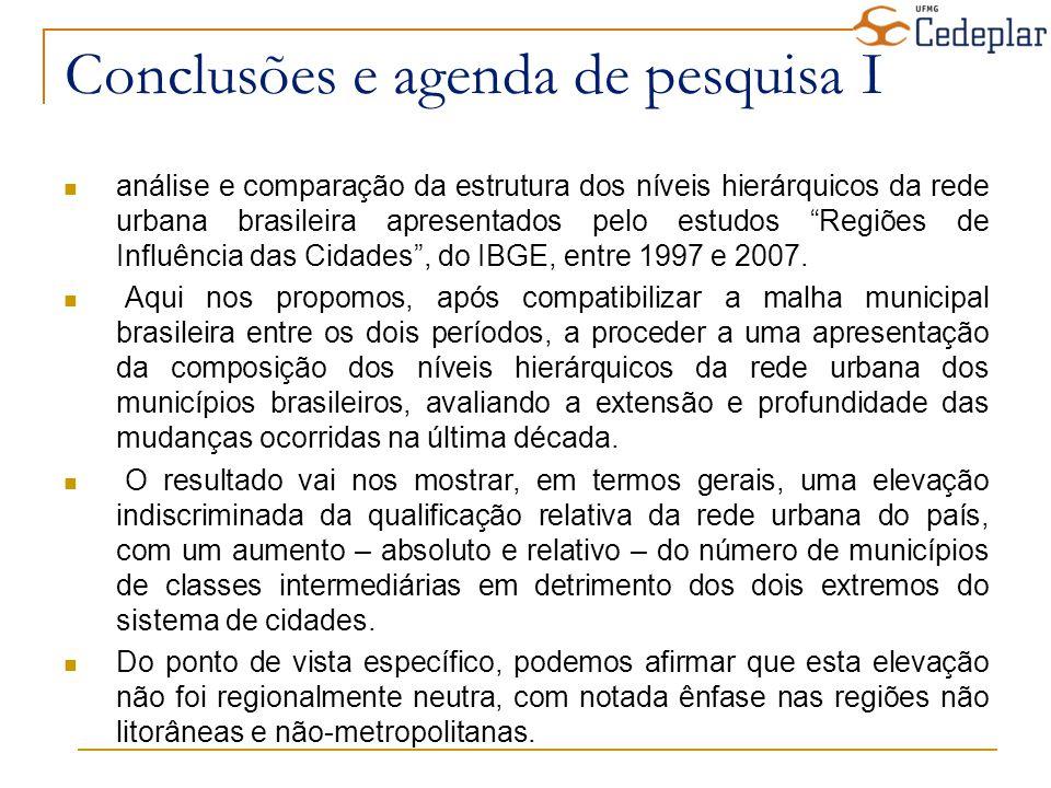 Conclusões e agenda de pesquisa I análise e comparação da estrutura dos níveis hierárquicos da rede urbana brasileira apresentados pelo estudos Regiõe