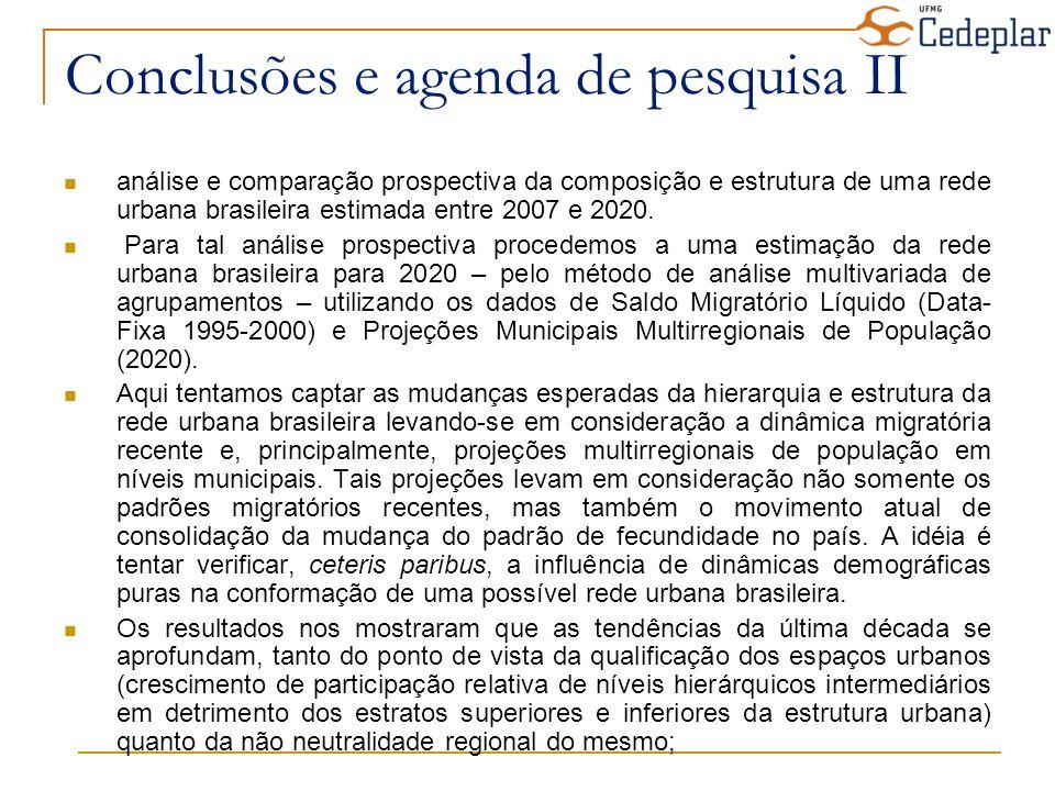 Conclusões e agenda de pesquisa II análise e comparação prospectiva da composição e estrutura de uma rede urbana brasileira estimada entre 2007 e 2020