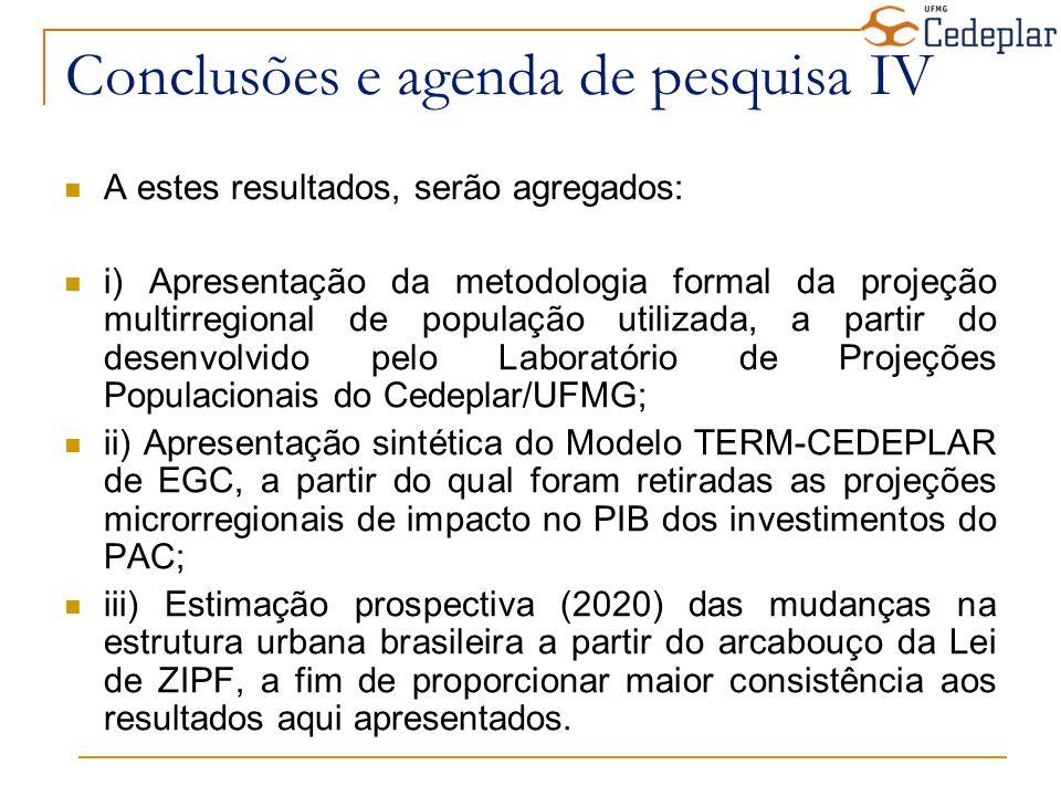 Conclusões e agenda de pesquisa IV A estes resultados, serão agregados: i) Apresentação da metodologia formal da projeção multirregional de população