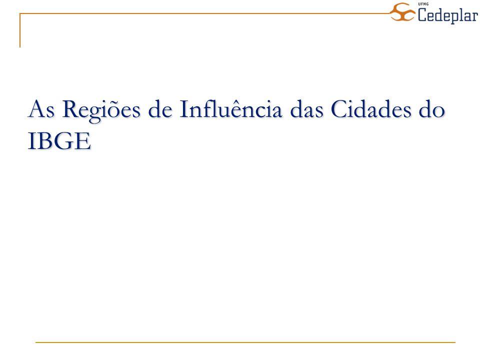 A partir da classificação dos centros de gestão do território, da intensidade dos relacionamentos e da dimensão da região e influência de cada centro em escala regional, as cidades brasileiras foram divididas em 5 grande níveis, subdivididos em 2 ou 3 sub-níveis, a saber : 1A – Grande metrópole nacional 1B – Metrópole nacional 1C – Metrópole 2A – Capital regional A 2B – Capital regional B 2C – Capital regional C 3A – Centro sub-regional A 3B – Centro sub-regional B 4A – Centro de zona A 4B – Centro de zona B 5 – Centro local