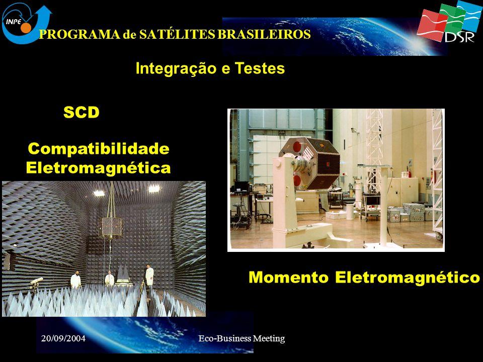 20/09/2004Eco-Business Meeting PROGRAMA de SATÉLITES BRASILEIROS Massa&Inercia Spin & Balancing Testes Ambientais Vibração MQ FBM MQ CBERS