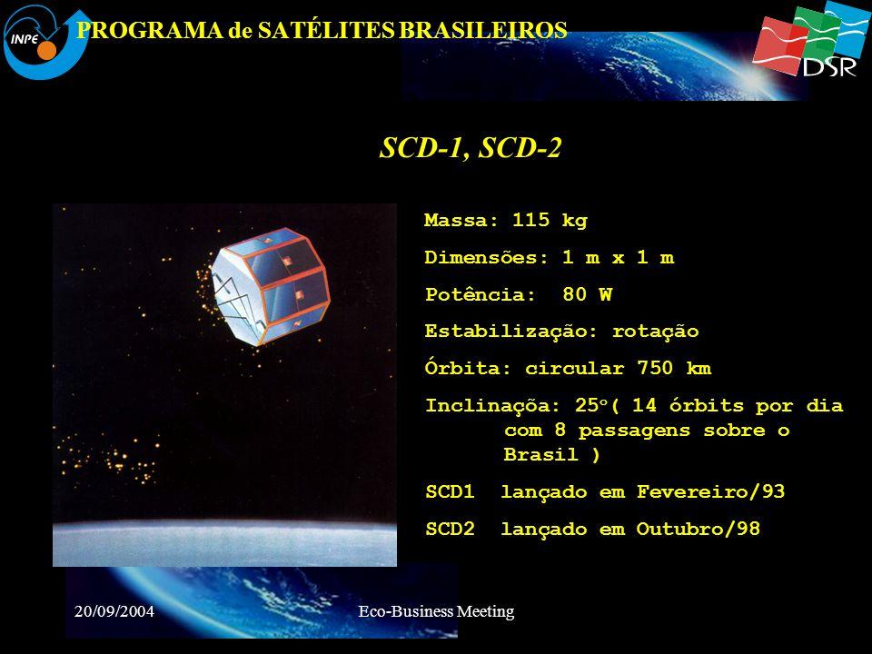 20/09/2004Eco-Business Meeting PROGRAMA de SATÉLITES BRASILEIROS CBERS-1/2 Massa: 1450 kg Potência: 1100 W DimensõesCorpo: 1.8 x 2 x 2.2 m Painel: 6.3 x 2.6 m ÓrbitaHélio-Sincrona 98.504º inclinação Altitude 778 km Estabilização3 axes TT&CUHF e Banda S Carga Útil Coleta de Dados: RX : 401,635 MHz 30 kHz TX: 2267,52 MHz @EIRP 20 dBm 462,5 MHz @ EIRP 35 dBm CCD: 0,51 to 0,73 m; 0,45 to 0,52 m ; 0,52 to 0,59 m ; 0,63 to 0,69 m and 0,77 to 0,89 m IR-MSS: 0,50 to 1,10 m ; 1,55 to 1,75 m; 2,08 to 2,35 m and 10,40 to 12,50 m WFI: 0,63 to 0,69 m and 0,77 to 0,89 m
