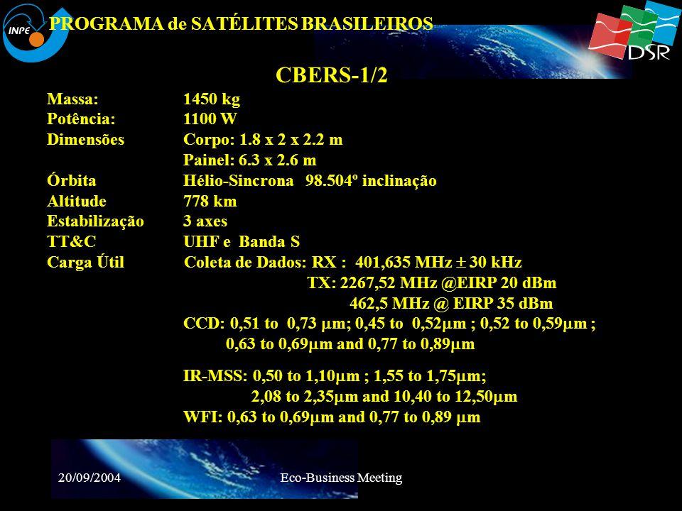 20/09/2004Eco-Business Meeting PROGRAMA de SATÉLITES BRASILEIROS CBERS-1 Lançamento - 1999