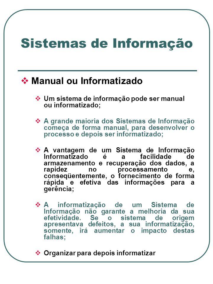 Manual ou Informatizado Um sistema de informação pode ser manual ou informatizado; A grande maioria dos Sistemas de Informação começa de forma manual, para desenvolver o processo e depois ser informatizado; A vantagem de um Sistema de Informação Informatizado é a facilidade de armazenamento e recuperação dos dados, a rapidez no processamento e, conseqüentemente, o fornecimento de forma rápida e efetiva das informações para a gerência; A informatização de um Sistema de Informação não garante a melhoria da sua efetividade.