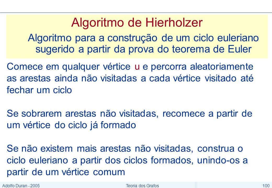 Adolfo Duran - 2005Teoria dos Grafos100 Algoritmo de Hierholzer Algoritmo para a construção de um ciclo euleriano sugerido a partir da prova do teorema de Euler Comece em qualquer vértice u e percorra aleatoriamente as arestas ainda não visitadas a cada vértice visitado até fechar um ciclo Se sobrarem arestas não visitadas, recomece a partir de um vértice do ciclo já formado Se não existem mais arestas não visitadas, construa o ciclo euleriano a partir dos ciclos formados, unindo-os a partir de um vértice comum