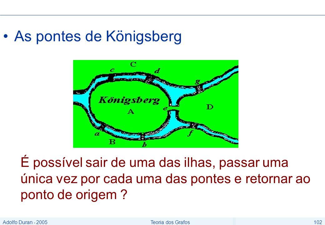 Adolfo Duran - 2005Teoria dos Grafos102 As pontes de Königsberg É possível sair de uma das ilhas, passar uma única vez por cada uma das pontes e retornar ao ponto de origem