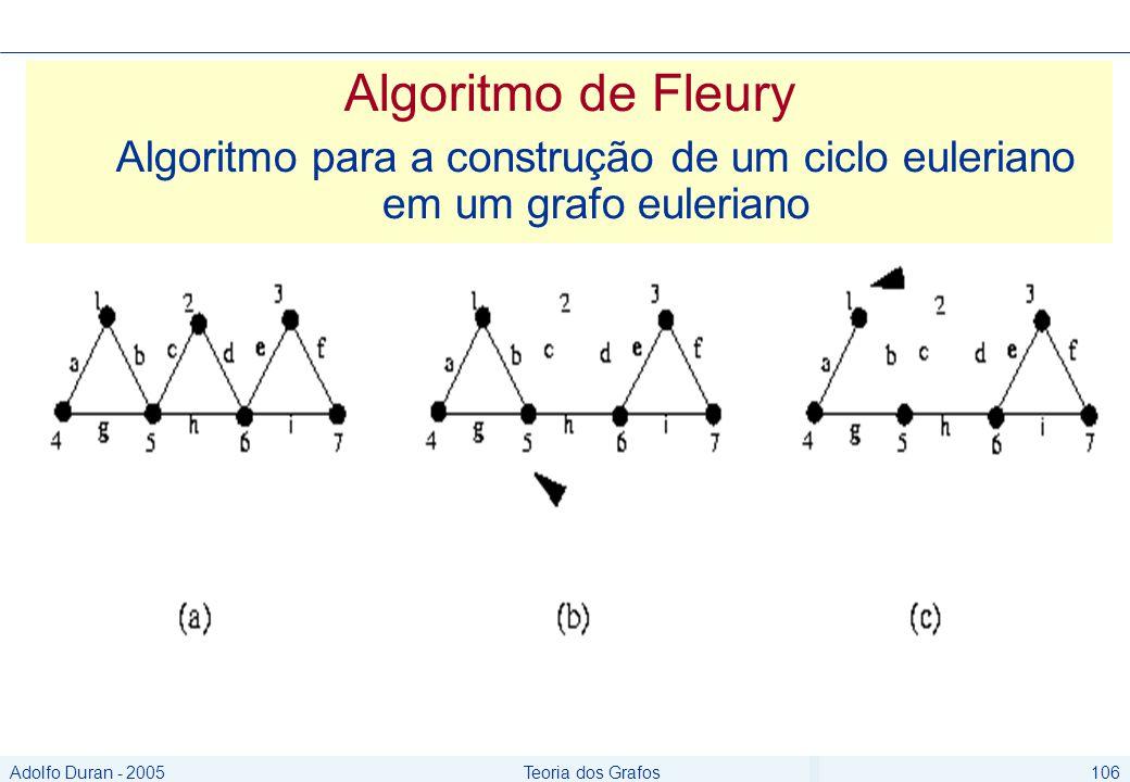Adolfo Duran - 2005Teoria dos Grafos106 Algoritmo de Fleury Algoritmo para a construção de um ciclo euleriano em um grafo euleriano