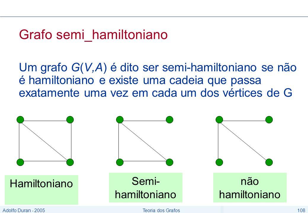 Adolfo Duran - 2005Teoria dos Grafos108 Grafo semi_hamiltoniano Um grafo G(V,A) é dito ser semi-hamiltoniano se não é hamiltoniano e existe uma cadeia que passa exatamente uma vez em cada um dos vértices de G Hamiltoniano Semi- hamiltoniano não hamiltoniano