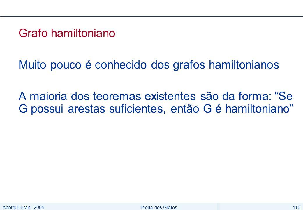 Adolfo Duran - 2005Teoria dos Grafos110 Grafo hamiltoniano Muito pouco é conhecido dos grafos hamiltonianos A maioria dos teoremas existentes são da forma: Se G possui arestas suficientes, então G é hamiltoniano