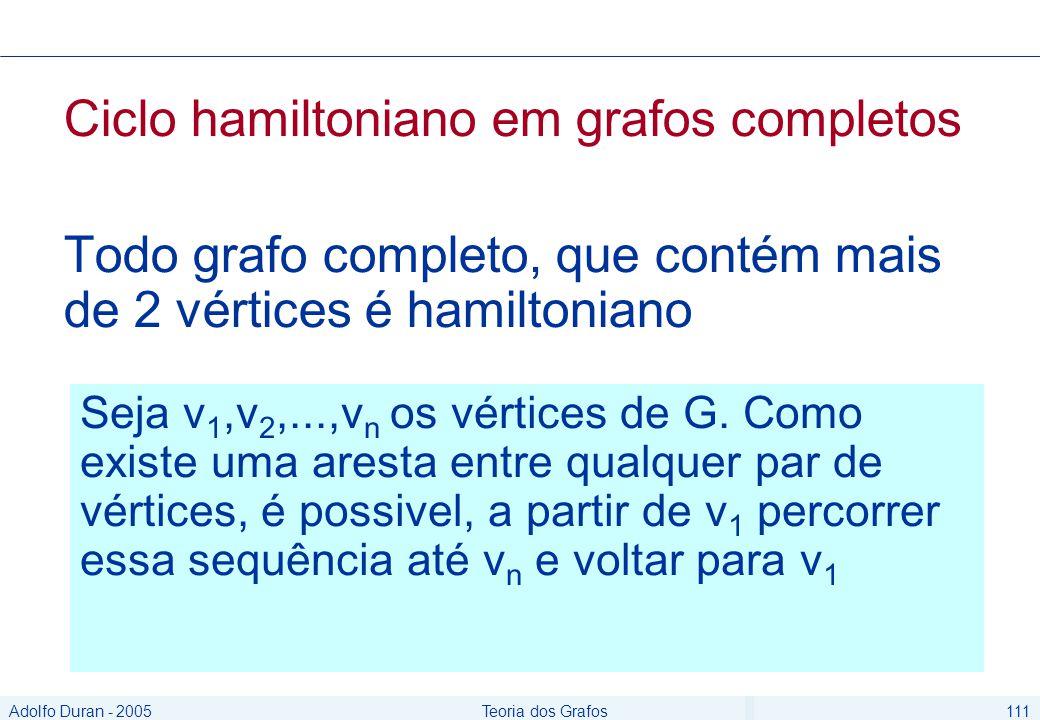 Adolfo Duran - 2005Teoria dos Grafos111 Ciclo hamiltoniano em grafos completos Todo grafo completo, que contém mais de 2 vértices é hamiltoniano Seja v 1,v 2,...,v n os vértices de G.