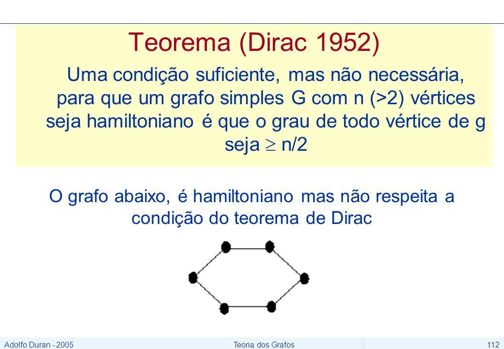 Adolfo Duran - 2005Teoria dos Grafos112 Teorema (Dirac 1952) Uma condição suficiente, mas não necessária, para que um grafo simples G com n (>2) vértices seja hamiltoniano é que o grau de todo vértice de g seja n/2 O grafo abaixo, é hamiltoniano mas não respeita a condição do teorema de Dirac