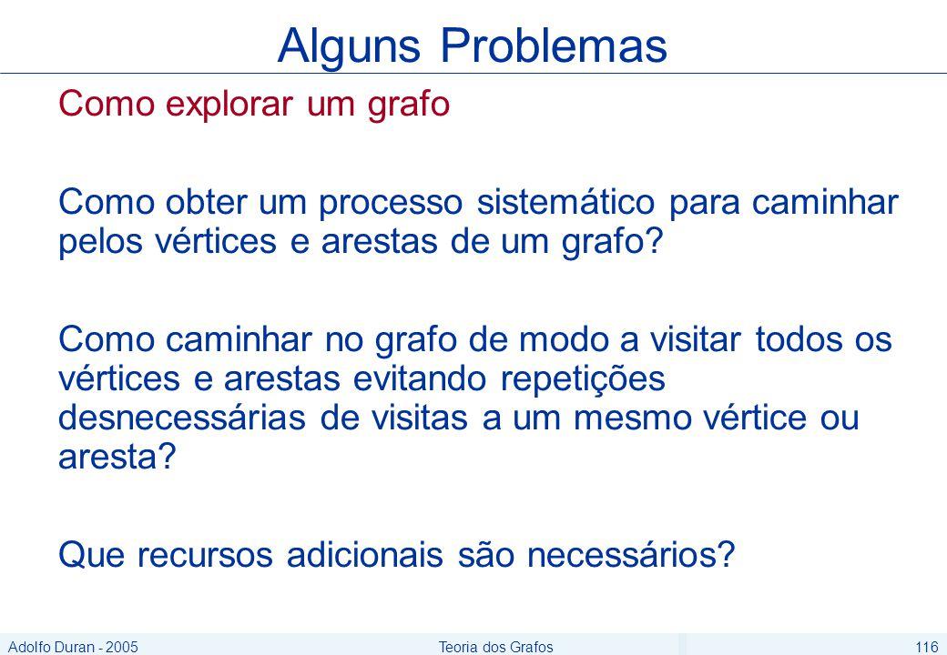 Adolfo Duran - 2005Teoria dos Grafos116 Como explorar um grafo Como obter um processo sistemático para caminhar pelos vértices e arestas de um grafo.