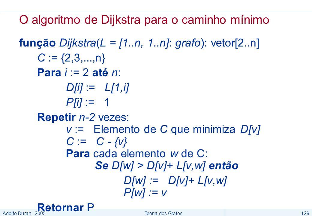 Adolfo Duran - 2005Teoria dos Grafos129 O algoritmo de Dijkstra para o caminho mínimo função Dijkstra(L = [1..n, 1..n]: grafo): vetor[2..n] C := {2,3,...,n} Para i := 2 até n: D[i] := L[1,i] P[i] := 1 Repetir n-2 vezes: v := Elemento de C que minimiza D[v] C := C - {v} Para cada elemento w de C: Se D[w] > D[v]+ L[v,w] então D[w] := D[v]+ L[v,w] P[w] := v Retornar P
