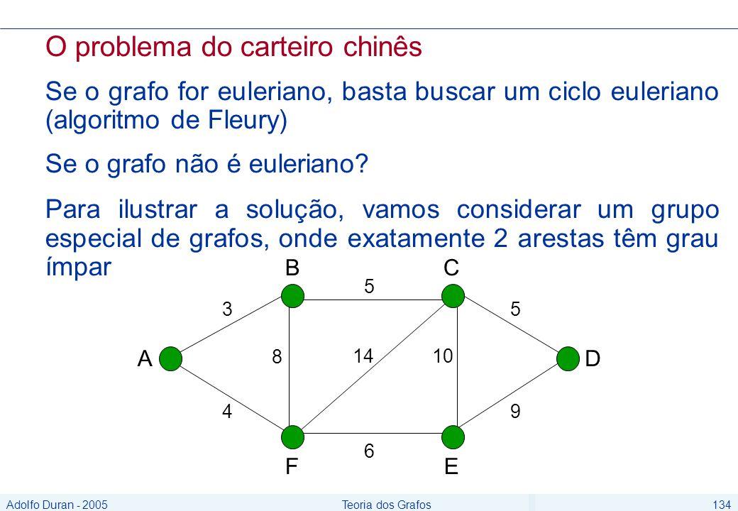 Adolfo Duran - 2005Teoria dos Grafos134 O problema do carteiro chinês Se o grafo for euleriano, basta buscar um ciclo euleriano (algoritmo de Fleury) Se o grafo não é euleriano.