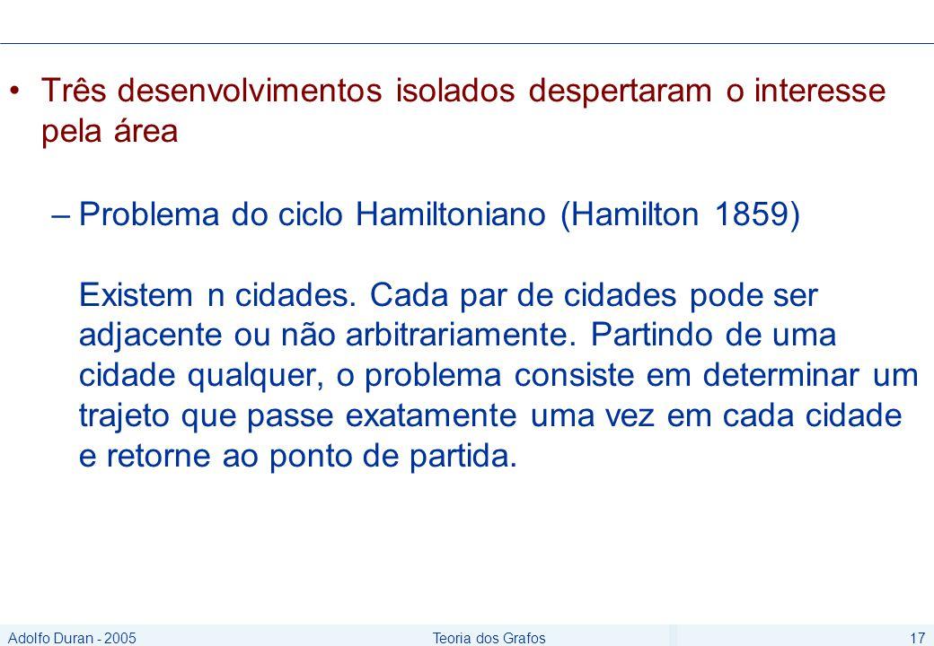 Adolfo Duran - 2005Teoria dos Grafos17 Três desenvolvimentos isolados despertaram o interesse pela área –Problema do ciclo Hamiltoniano (Hamilton 1859) Existem n cidades.