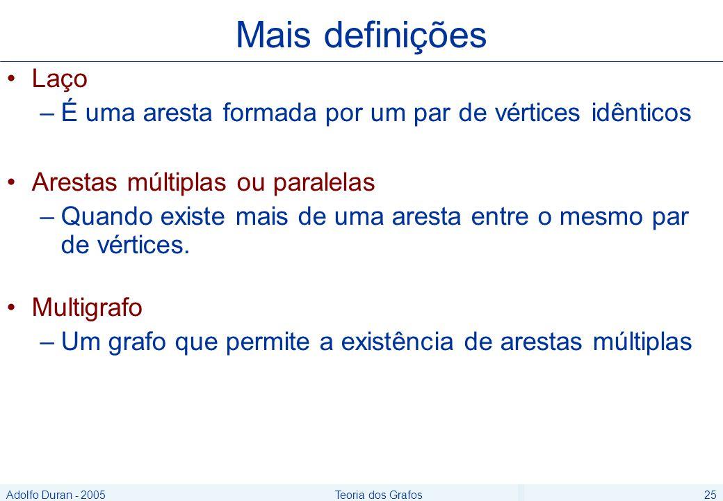 Adolfo Duran - 2005Teoria dos Grafos25 Laço –É uma aresta formada por um par de vértices idênticos Arestas múltiplas ou paralelas –Quando existe mais de uma aresta entre o mesmo par de vértices.
