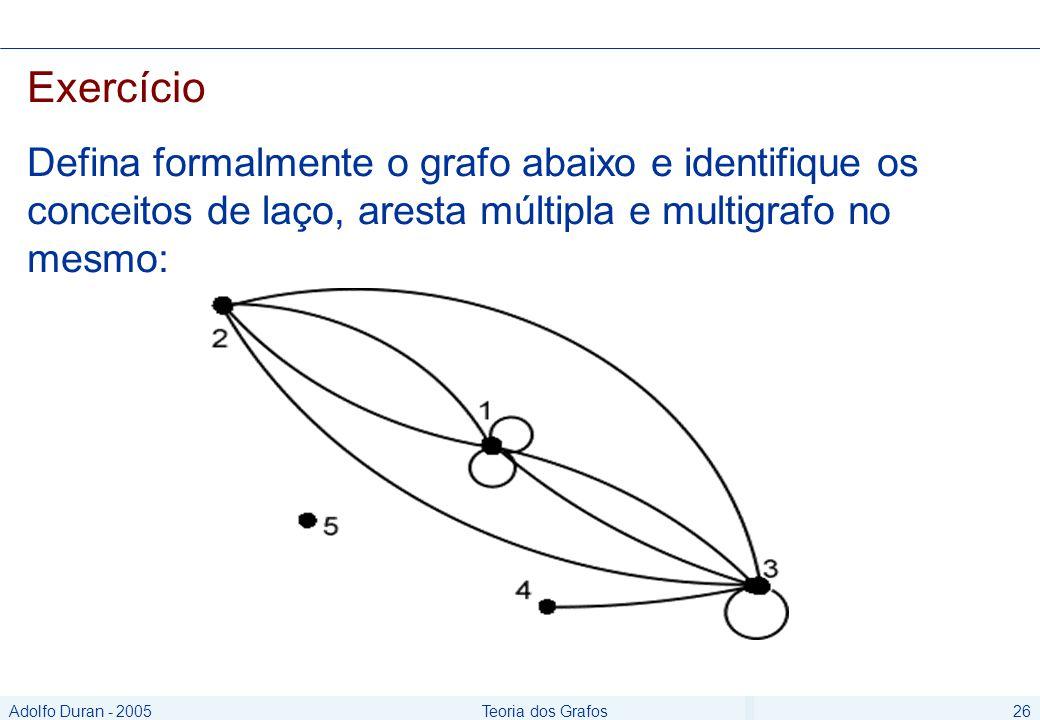 Adolfo Duran - 2005Teoria dos Grafos26 Exercício Defina formalmente o grafo abaixo e identifique os conceitos de laço, aresta múltipla e multigrafo no mesmo: