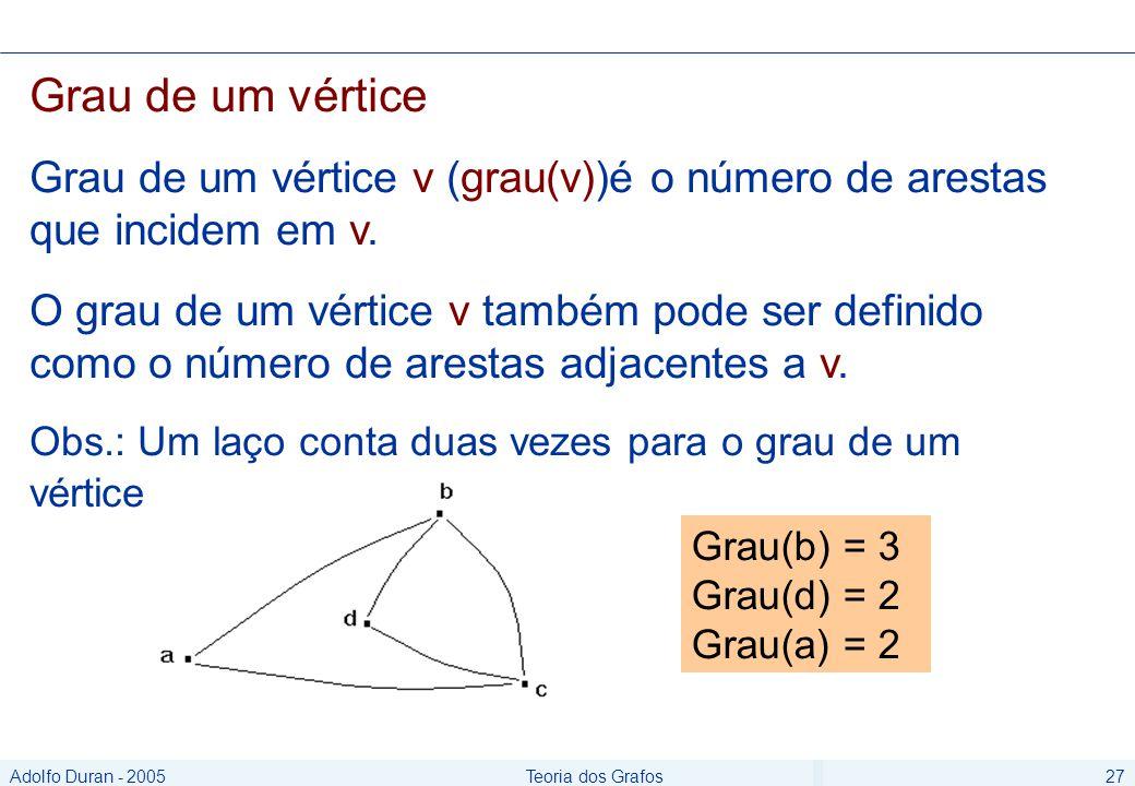 Adolfo Duran - 2005Teoria dos Grafos27 Grau de um vértice Grau de um vértice v (grau(v))é o número de arestas que incidem em v.