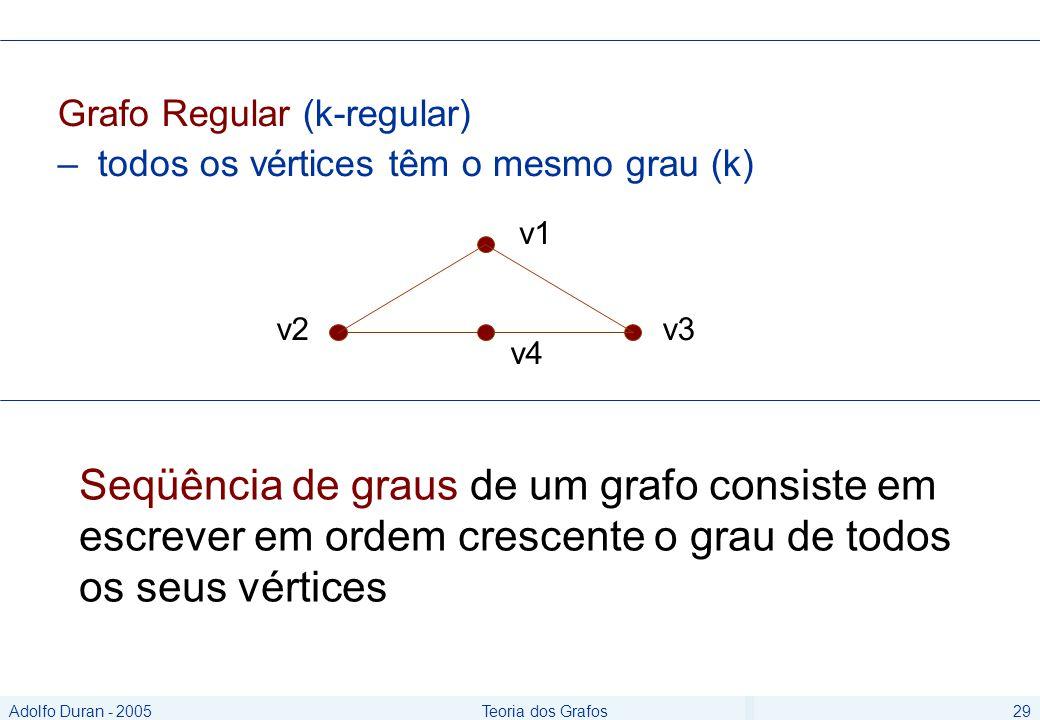 Adolfo Duran - 2005Teoria dos Grafos29 Grafo Regular (k-regular) – todos os vértices têm o mesmo grau (k) v1 v2 v4 v3 Seqüência de graus de um grafo consiste em escrever em ordem crescente o grau de todos os seus vértices