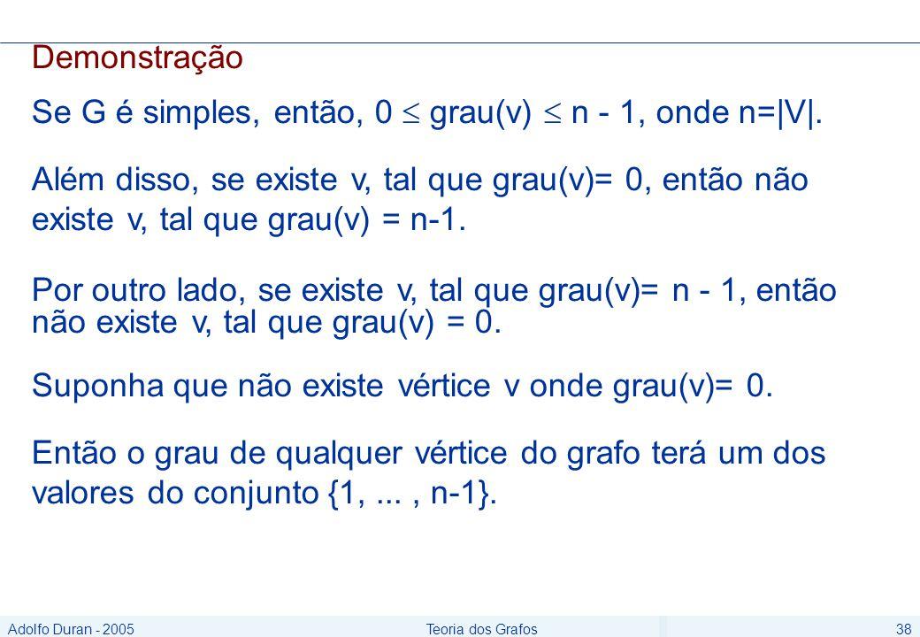 Adolfo Duran - 2005Teoria dos Grafos38 Demonstração Se G é simples, então, 0 grau(v) n - 1, onde n=|V|.