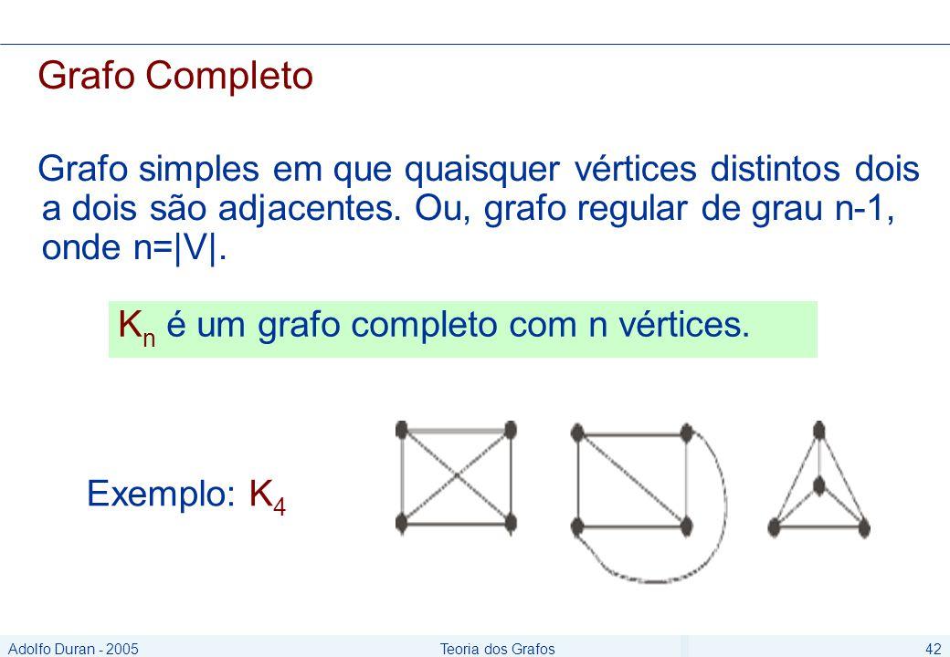 Adolfo Duran - 2005Teoria dos Grafos42 Grafo Completo Grafo simples em que quaisquer vértices distintos dois a dois são adjacentes.