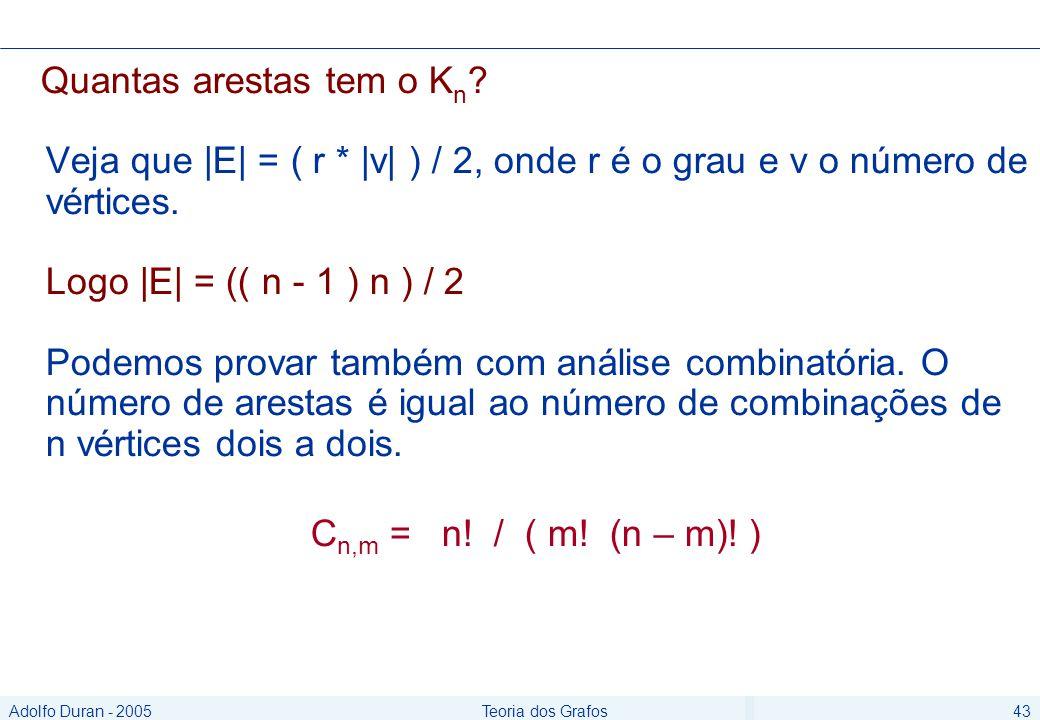 Adolfo Duran - 2005Teoria dos Grafos43 Quantas arestas tem o K n .
