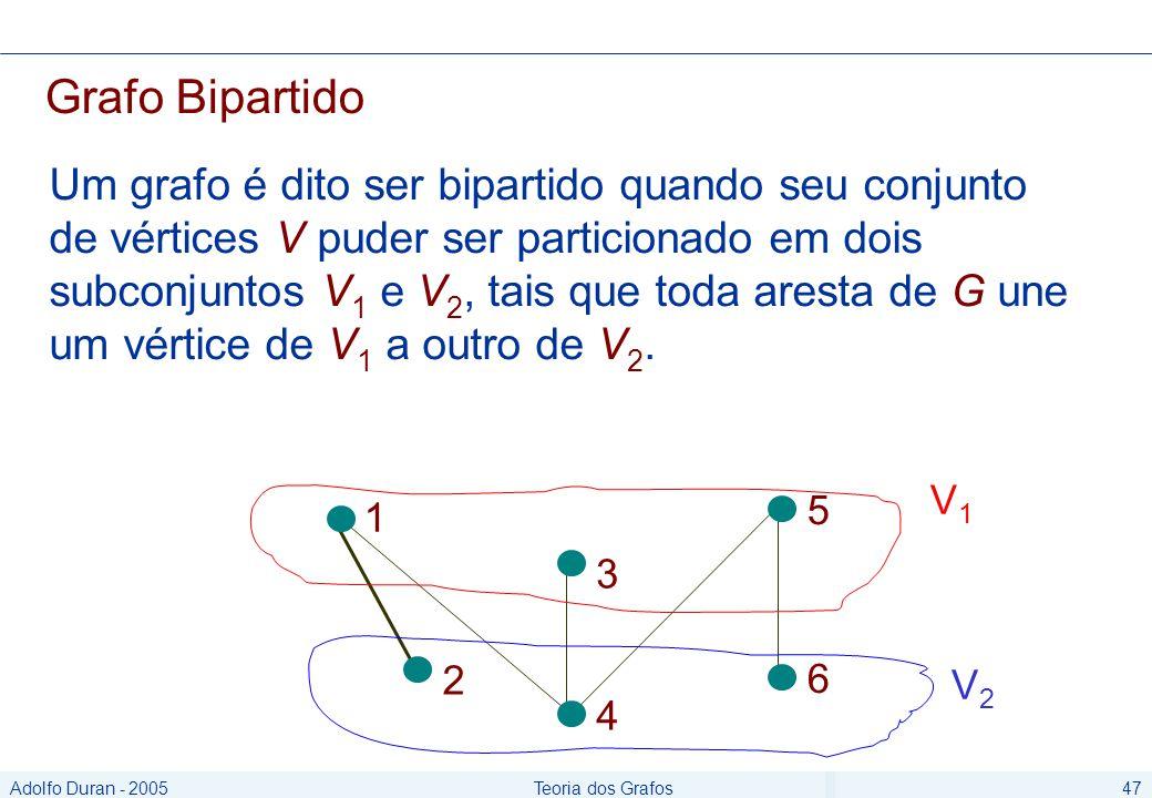 Adolfo Duran - 2005Teoria dos Grafos47 Grafo Bipartido Um grafo é dito ser bipartido quando seu conjunto de vértices V puder ser particionado em dois subconjuntos V 1 e V 2, tais que toda aresta de G une um vértice de V 1 a outro de V 2.