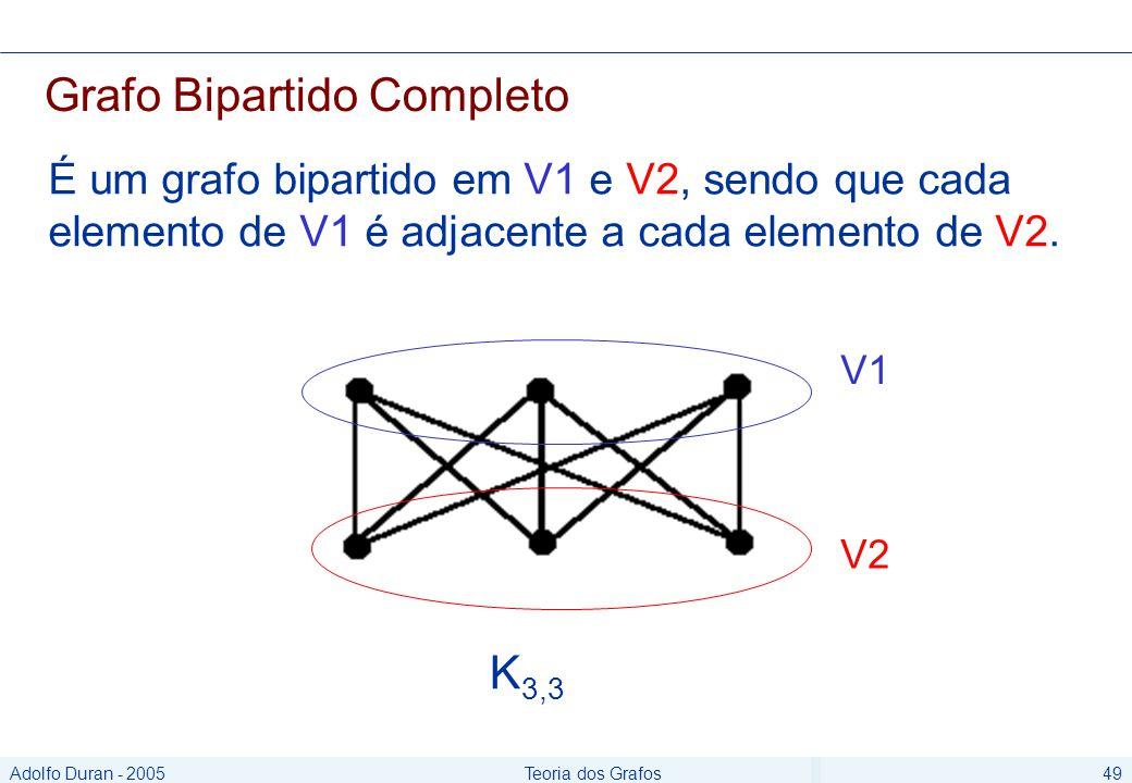 Adolfo Duran - 2005Teoria dos Grafos49 Grafo Bipartido Completo É um grafo bipartido em V1 e V2, sendo que cada elemento de V1 é adjacente a cada elemento de V2.
