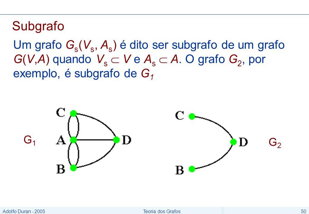 Adolfo Duran - 2005Teoria dos Grafos50 Subgrafo Um grafo G s (V s, A s ) é dito ser subgrafo de um grafo G(V,A) quando V s V e A s A.