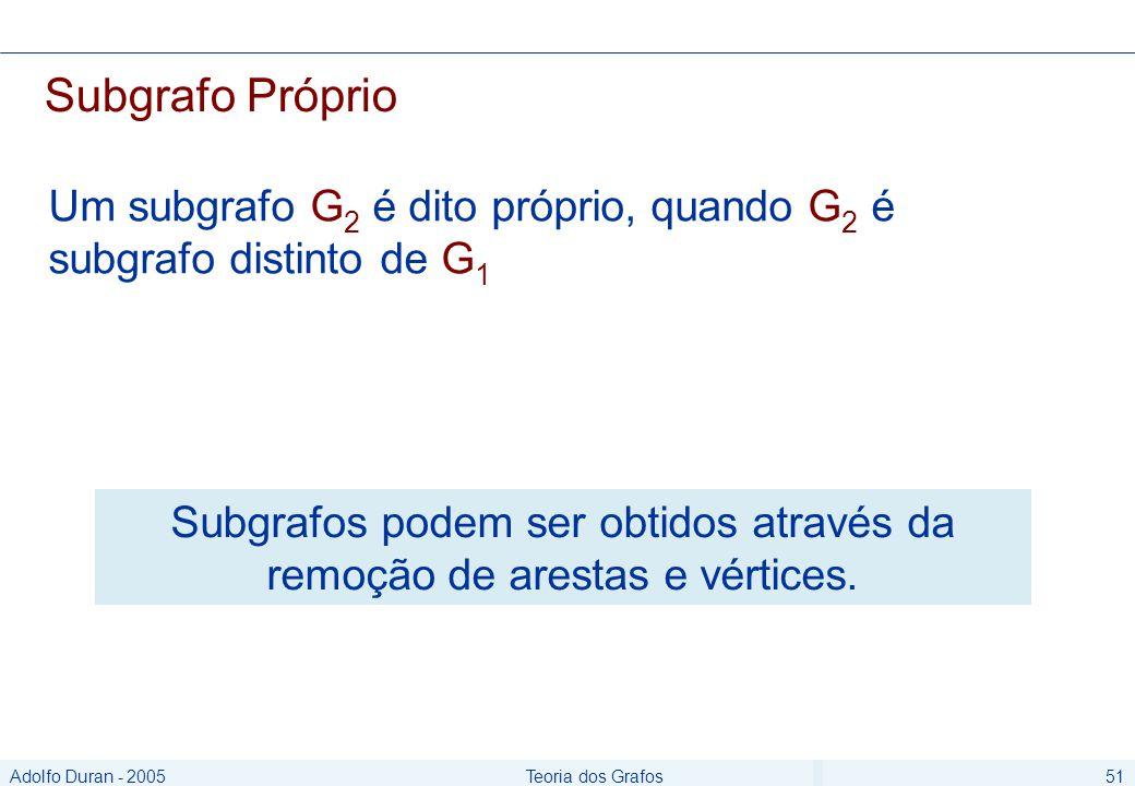 Adolfo Duran - 2005Teoria dos Grafos51 Subgrafo Próprio Um subgrafo G 2 é dito próprio, quando G 2 é subgrafo distinto de G 1 Subgrafos podem ser obtidos através da remoção de arestas e vértices.
