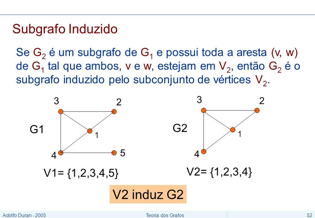 Adolfo Duran - 2005Teoria dos Grafos52 Subgrafo Induzido Se G 2 é um subgrafo de G 1 e possui toda a aresta (v, w) de G 1 tal que ambos, v e w, estejam em V 2, então G 2 é o subgrafo induzido pelo subconjunto de vértices V 2.