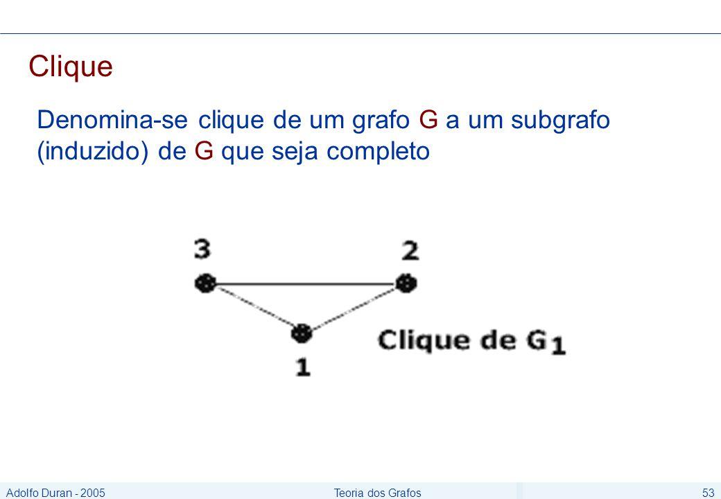 Adolfo Duran - 2005Teoria dos Grafos53 Clique Denomina-se clique de um grafo G a um subgrafo (induzido) de G que seja completo